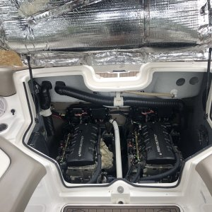 2010 Yamaha 242 Limited S , engine compartment with sound deadening lining