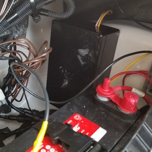 Electronics box installed with battery